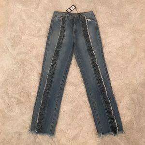 Carmar denim ruffled jeans